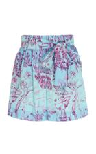 Staud Sage Tie-detailed Printed Broadcloth Shorts