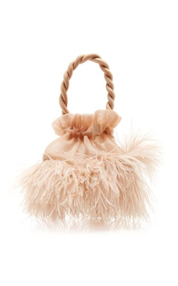 Staud Grace Ostrich Feather Top Handle Bag