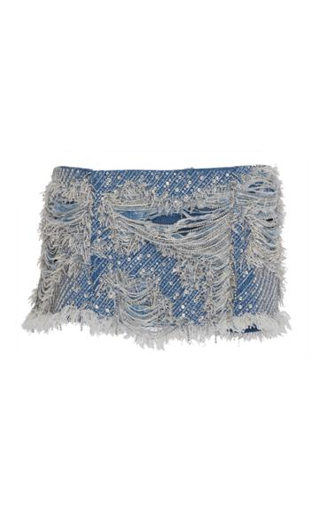 Balmain Embroidered Denim Mini Skirt