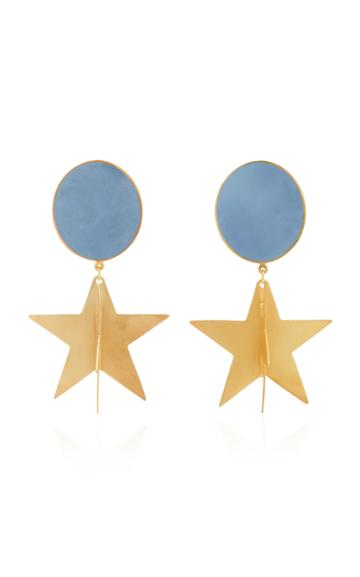 Silhouette M'o Exclusive Gold-plated Enamel Double-star Earrings