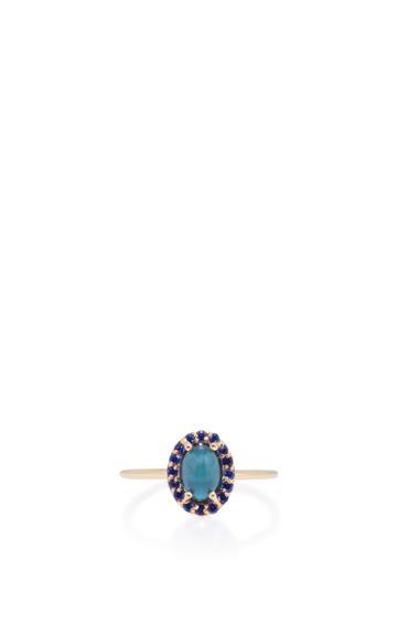 Marlo Laz 14k Gold Sapphire And Tourmaline Ring