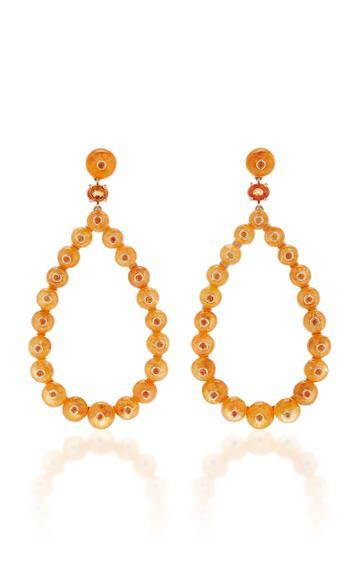 Nina Runsdorf M'o Exclusive Spessartite Bead Frontal Hoop Earrings