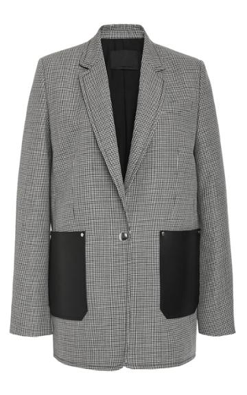 Alexander Wang Houndstooth Tailored Jacket With Patch Pockets