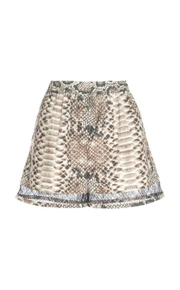 Elie Saab Popline Shorts With Lace Trim