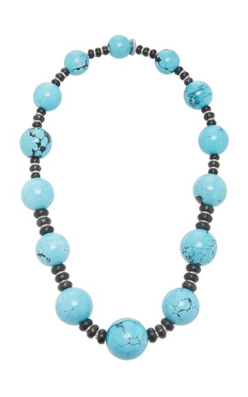Sabbadini White Gold Turquoise And Diamond Necklace