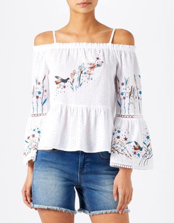 Monsoon Isla Cold Shoulder Embroidered Top