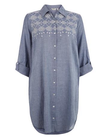Monsoon Mila Cutwork Chambray Shirt Dress