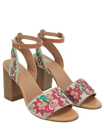Monsoon Tyra Tropical Embroidered Heel Sandals