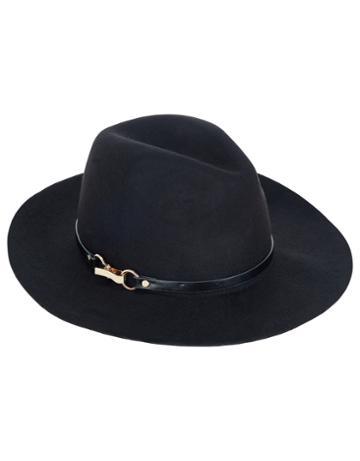 Monsoon Felt Fedora Buckle Trim Hat