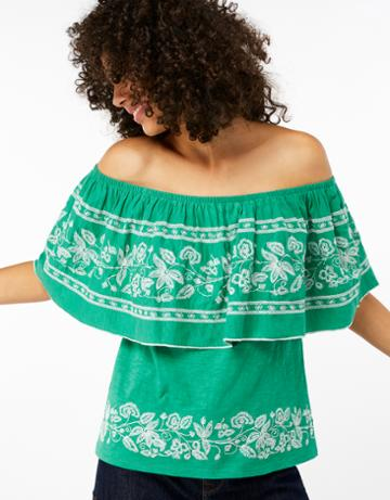 Monsoon Rena Off Shoulder Embroidered Top