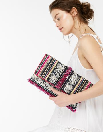 Monsoon Madison Metallic Embroidered Clutch Bag