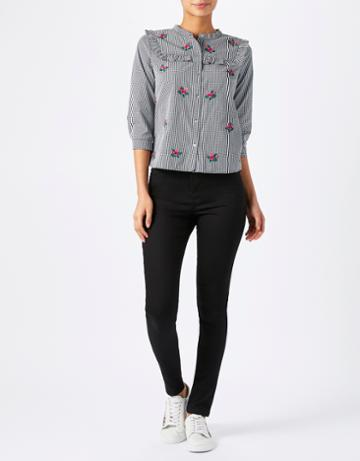 Monsoon Evalina Gingham Embroidered Shirt