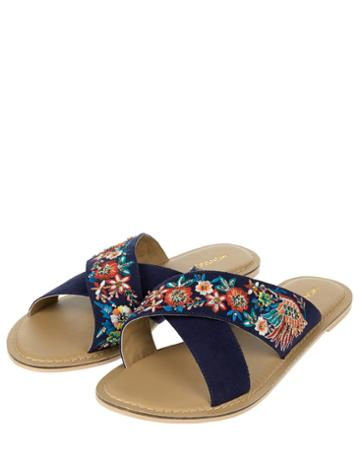 Monsoon Cassie Crossover Embroidered Slide Sandals