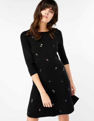 Monsoon Elena Embroidered Fit And Flare Dress