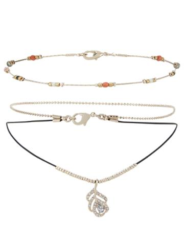 Monsoon Crystal Leaf & Bead Choker Necklace