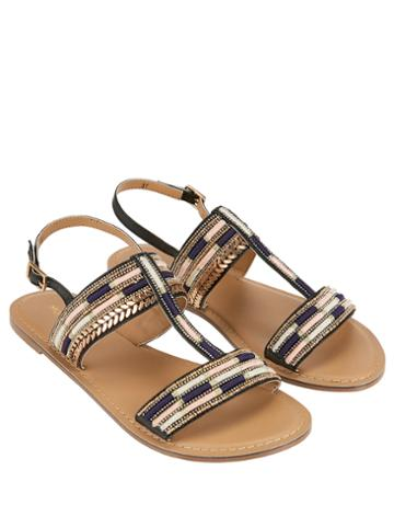 Monsoon Shiloh Embroidered T-bar Sandals