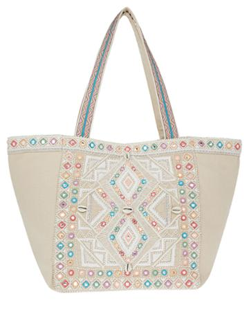 Monsoon Clara Cream Embroidered Tote Bag
