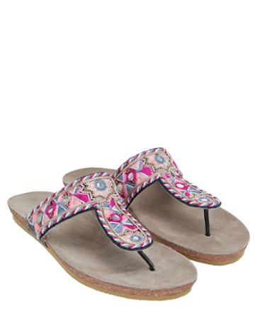 Monsoon Enza Embroidered Footbed Sandals