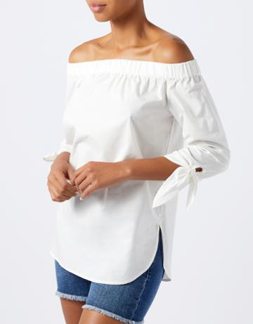Monsoon Petra Poplin Off Shoulder Top