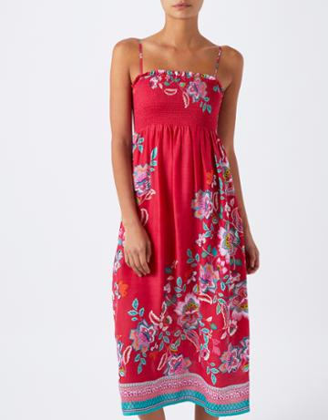 Monsoon Lana Floral Print Bandeau Midi Dress