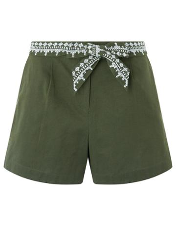 Monsoon Betsy Embroidered Belted Shorts