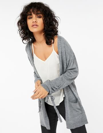 Monsoon Rhea Ruched Tie Sleeve Cardigan