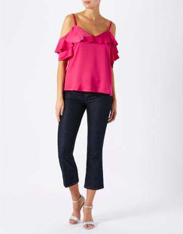 Monsoon Penny Ruffle Cold Shoulder Top
