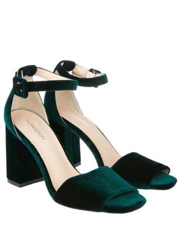 Monsoon Simone Velvet Block Heel Sandals