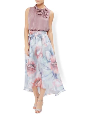Monsoon Blossom Print Hi-lo Skirt