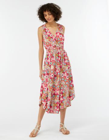 Monsoon Kiara Printed Shirred Waist Dress