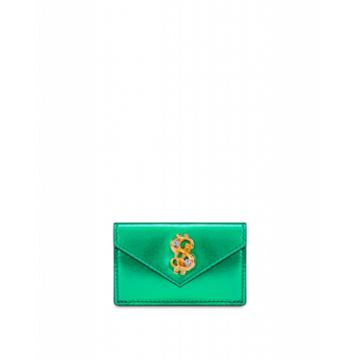 Moschino Dollar Stud Laminated Wallet Woman Green Size U It - (one Size Us)