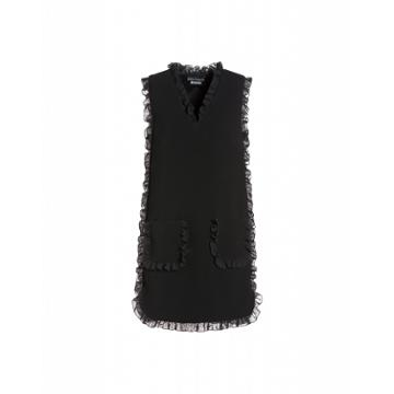 Boutique Moschino Crepe Dress With Ruffles Woman Black Size 46 It - (12 Us)