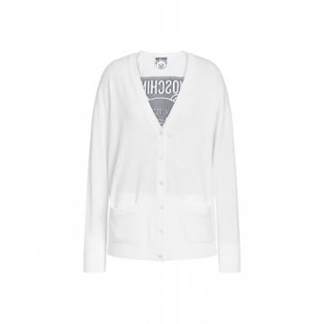 Moschino Wool Cardigan With Teddy Label Woman White Size 40 It - (6 Us)
