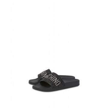 Moschino Glitter Lettering Jewel Pool Slides Woman Black Size 41 It - (11 Us)