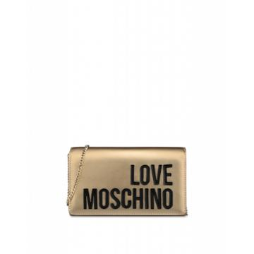 Love Moschino Laminated Evening Bag With Logo Woman Gold Size U It - (one Size Us)