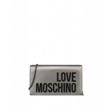 Love Moschino Laminated Evening Bag With Logo Woman Grey Size U It - (one Size Us)
