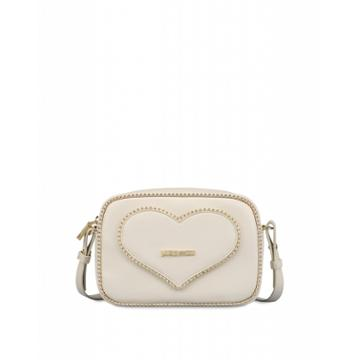 Love Moschino Shoulder Bag With Heart And Studs Woman White Size U It - (one Size Us)