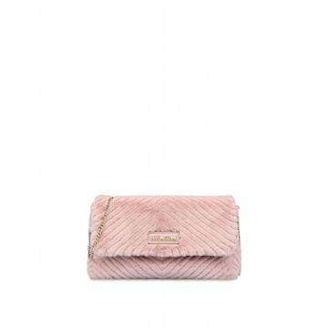 Love Moschino Quilted Ecofur Evening Bag Woman Pink Size U It - (one Size Us)