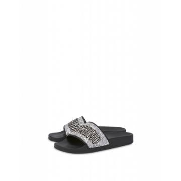 Moschino Glitter Lettering Jewel Pool Slides Woman Silver Size 37 It - (7 Us)