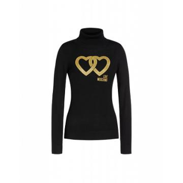 Love Moschino Double Heart Stockinette Stitch Pullover Woman Black Size 40 It - (6 Us)