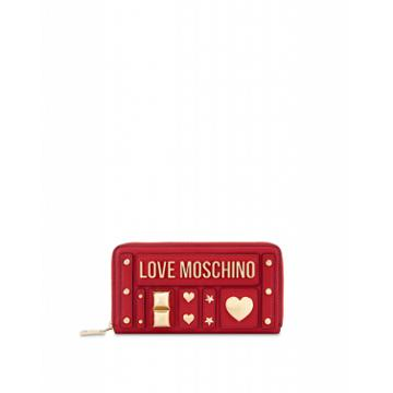 Love Moschino Zip Around Wallet With Studs Woman Red Size U It - (one Size Us)