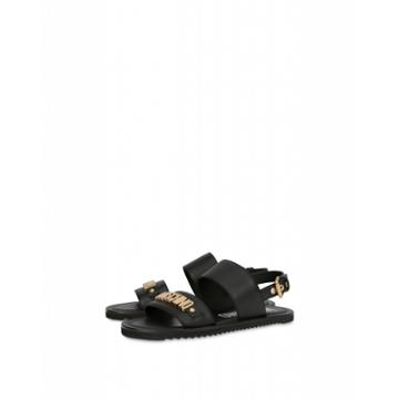 Moschino Leather Sandals With Lettering Logo Man Black Size 40 It - (7 Us)