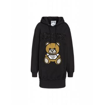Moschino Teddy Embroidery Fleece Dress Woman Black Size 40 It - (6 Us)