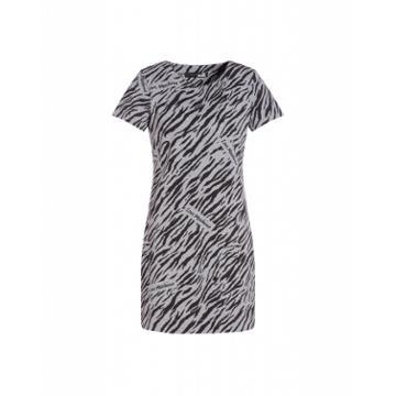Love Moschino Animal Print Stretch Fleece Dress Woman Grey Size 38 It - (4 Us)