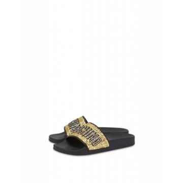 Moschino Glitter Lettering Jewel Pool Slides Woman Gold Size 38 It - (8 Us)