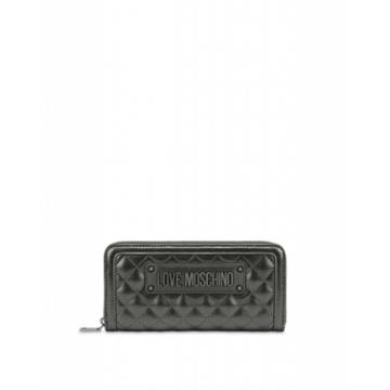 Love Moschino Quilted Zip Around Wallet Woman Grey Size U It - (one Size Us)