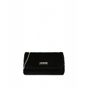 Love Moschino Quilted Ecofur Evening Bag Woman Black Size U It - (one Size Us)