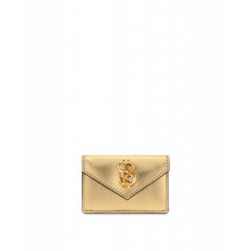 Moschino Dollar Stud Laminated Wallet Woman Gold Size U It - (one Size Us)