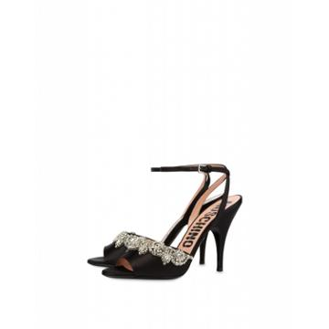 Moschino Satin Sandals With Jeweled Embroidery Woman Black Size 36 It - (6 Us)