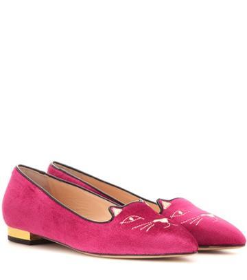 Current/elliott Mid-century Kitty Velvet Slippers